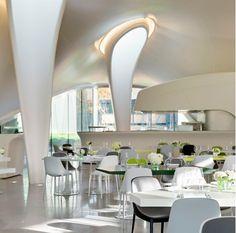 the magazine restaurant, serpentine sackler gallery, kensington gardens, london. interior + kitchen + bar & structure itself all designed by Zaha Hadid