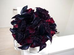 Black dahlia and black calla lily bridal bouquet