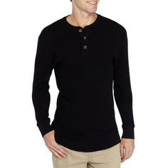 True Craft  Long Sleeve Thermal Henley Shirt ($17) ❤ liked on Polyvore featuring men's fashion, men's clothing, men's shirts, men's casual shirts, mens casual long sleeve shirts, mens long sleeve shirts, mens henley shirts and mens henley long sleeve shirts