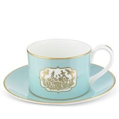 Fortnum's Eau de Nil China tea cup & saucer.  This simple and elegant cup and saucer is decorated with an 18th-century-inspired Chinoiserie design, depicting a tea-related moment to set the appropriate tone. It's all that one needs for a sophisticated cup of tea.