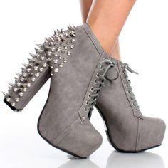Gray Spike Studded Women Chunky High Heel Hidden Platform Ankle Boots 74efba03ad