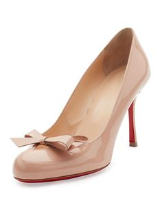 X3CDD Christian Louboutin Vinodo Patent Bow 85mm Red Sole Pump