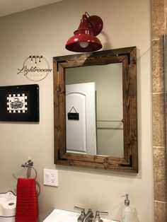 Unique Tips and Tricks: Wall Mirror Design Pottery Barn wall mirror gym dance studio.Round Wall Mirror Home big wall mirror frames. Big Wall Mirrors, Rustic Wall Mirrors, Wood Framed Mirror, Diy Mirror, Vanity Mirrors, Mirror Ideas, Wood Bathroom Mirror, Country Bathroom Mirrors, Large Mirrors