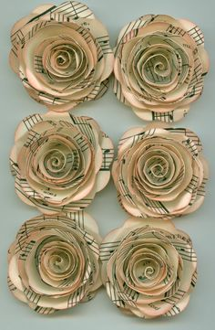 Antique Music Sheet Handmade Large Spiral Paper Flowers...like the pale pink coloring of the edges...