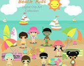 Beach Kids Children Digital Clip Art by JandGDesignStudio on Etsy