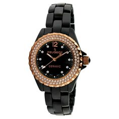 Peugeot watches at Kohl's - This women's Peugeot rose gold-tone and black ceramic crystal watch is a chic timepiece. Come shop our wide selection of Peugeot watches at Kohl's. Omega Seamaster James Bond, Pink Watch, Best Watches For Men, Peugeot, Watch Bands, Swarovski Crystals, Rose Gold, Ceramics, Color Black