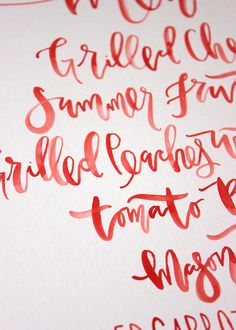 red handwritten calligraphy