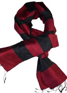 Scarf, made from raw and fine silk. Colours: red and black. Cotton Scarf, Silk Scarves, Scarf Styles, Cambodia, Plaid Scarf, Hand Weaving, Colours, Stylish, Red