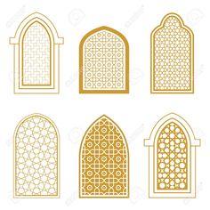Set of ornamental islamic window. Template for design Stock Vector - 70944487 models architecture Morrocan Architecture, Architecture Windows, Mosque Architecture, Interior Architecture, Spa Interior, Restaurant Interior Design, Islamic Decor, Islamic Art, Moroccan Restaurant