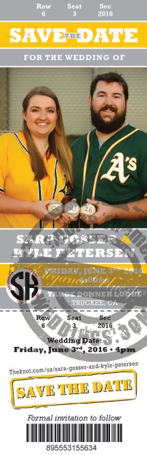Save the Date for this Oakland A's inspired Baseball Themed Wedding!  #baseballwedding #stwdotcom