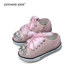 10% СКИДКА Cctwins дети Демисезонный модные детские белые кроссовки Дети  искусственная кожа тренер для маленьких девочек со стразами на шнуровке  розовый без ... 81f0049dc76
