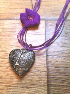 Heart locket and key necklace with fabric flower by LeahBeloved, $16.00