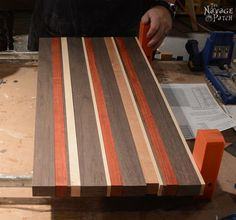 Woodworking Designs Story of A Board: End-Grain Cutting Board Tutorial and Plans Awesome Woodworking Ideas, Beginner Woodworking Projects, Woodworking Guide, Fine Woodworking, Woodworking Lessons, Woodworking Garage, Woodworking Patterns, Popular Woodworking, End Grain Cutting Board