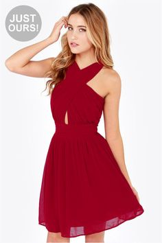 LULUS Exclusive This Twist, This Twist Wine Red Halter Dress at LuLus.com! Cute for a christmas wedding or any winter event