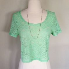 I just discovered this while shopping on Poshmark: Mint Lace Top. Check it out!  Size: M