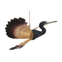 Rustic Home Décor Tricolored Heron Bird Mobile Fan Carving, Wooden... ($48) ❤ liked on Polyvore featuring home, home decor, wooden home decor, colorful home decor, mobile home decor, bird home decor and wood home decor