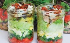 This protein-packed Cobb salad in a jar is the perfect on-the-go lunch to keep   you full and satisfied until dinner