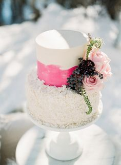 pink coconut wedding cake
