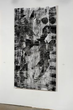 "Joseph Staples Black Falun series 7 and 8 Collaged chloroplast prints on panel 42"" x 78"" each 2014"
