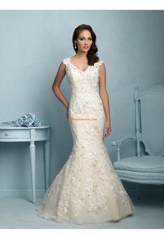 Robes de mariée 2015 en tulle applique fleurs avec bretelles dos nu sexy pas cher