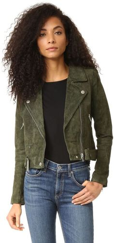 Blank Denim Genuine Suede Moto Jacket #affiliate #loveit