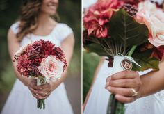 Matt Shumate Photography at the Spokane LDS Temple bride holding the flower bouquet with red and pink flowers and a remembrance charm of a loved one