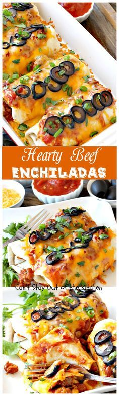 These tasty enchiladas have a beef and chili bean filling with salsa, cheese and olives to top off the enchiladas. Great Tex-Mex entree.
