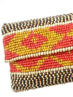 Wood Bead Clutch Evening Bag Brown or Red by Moyna for IMPERIO jp from IMPERIO jp