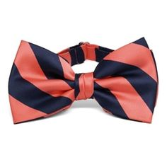 coral and navy blue bow tie for Aiden