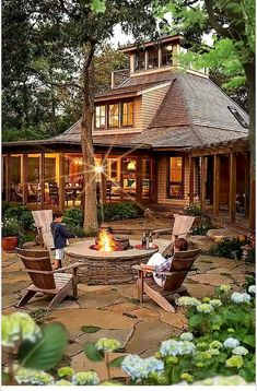 38 Magnificent Patio Design Ideas In Your Garden - Page 37 of 38 Patio Design, Home Design, Design Ideas, Garden Design, Log Cabin Homes, Modern Landscaping, Stone Landscaping, Landscaping Design, My Dream Home