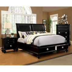 Furniture of America Modern Selinea 2-Piece Platform Bed with Nightstand Set | Overstock.com Shopping - The Best Deals on Bedroom Sets
