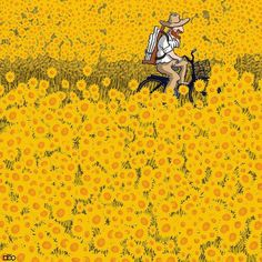 Iranian cartoonist Alireza Karimi Moghaddam shares his admiration for Vincent van Gogh in an ongoing comic series starring the Post-Impressionist painter. Vincent Van Gogh, Van Gogh Tapete, Van Gogh Wallpaper, Van Gogh Pinturas, Ciel Nocturne, Van Gogh Sunflowers, Van Gogh Art, Most Famous Paintings, Creative Illustration