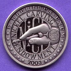 STEVE ADAMS HOBO COIN - 'NICE' LOGO - UNKNOWN HOST COIN Steve Adams, Hobo Nickel, Coin Art, Copper Penny, Old Money, Modern Love, Coin Jewelry, Coin Collecting, Skull Art