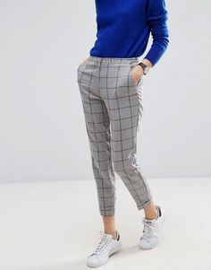 ASOS Cigarette Pants in Grid Check