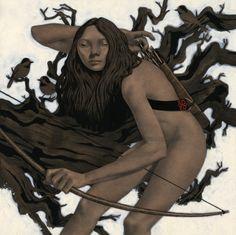 "edwardkinsellaillustration: "" Edward Kinsella III - Hash-Inau-uk Kamuy, the Ainu goddess of the hunt. Type Illustration, Character Illustration, American Artists, Figurative Art, Alter, Illustrators, Fantasy Art, Concept Art, Cool Art"