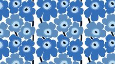 """Unikko, one of the more popular patterns produced by Marimekko (""""Mary's little dress"""") Marimekko Fabric, Geometric Shapes, Blue Flowers, Printing On Fabric, Paint Colors, Poppies, Print Patterns, Blue And White, Diy Projects"""