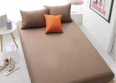 Home Textile Orange Fitted Sheet Bed Sheets Covers Mattress Cover orange queen sheets - Orange Things