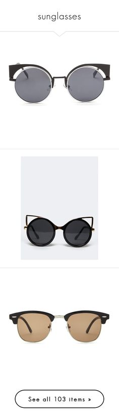 """""""sunglasses"""" by lghedger ❤ liked on Polyvore featuring accessories, eyewear, sunglasses, glasses, black, cut out sunglasses, round lens glasses, circle sunglasses, circular sunglasses and round circle sunglasses"""