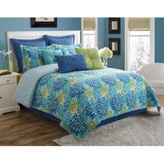 Fiesta Calypso Reversible Full Comforter Set ($140) ❤ liked on Polyvore featuring home, bed & bath, bedding, comforters, turquoise, chevron comforters, zigzag bedding, turquoise bedding, reversible comforter sets and floral comforter sets