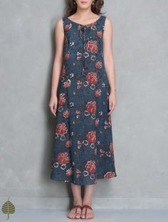 Indigo-Red Block Printed Cotton Dress with Pockets by Jaypore