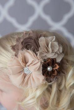 Purple flower hair clip for girls - LaBellaRoseBoutique. flower girl hair, girl's hair accessories, shabby chic photo shoot, lace flowers, fall flower headband