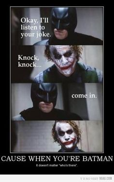 Why 'knock-knock' jokes don't work on Batman