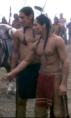 "Michael Spears (left) and Zahn McClarnon (right), Lakota Sioux actors, from the TV miniseries ""Into The West."""