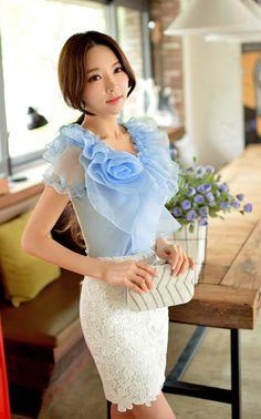 Blue+Ruffle+Collar+Designer+Top+Shirt                                                                                                                                                      More