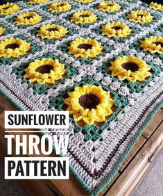 Ravelry: Sunflower Throw Blanket pattern by Libby Halstead Crochet Afghans, Knit Or Crochet, Blanket Crochet, Easy Crochet, Crochet Sunflower, Crochet Flowers, Sunflower Pattern, Easy Knitting Projects, Crochet Projects