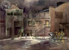 Back of Cannery Row, California art by Art Riley. HD giclee art prints for sale at CaliforniaWatercolor.com - original California paintings, & premium giclee prints for sale