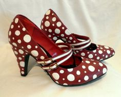Hand Painted Red with White Polka-dot Double Mary Jane High Heel Shoes Size 7. $180.00, via Etsy.