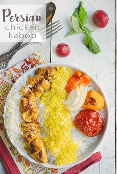 Persian Chicken Kabob (Joojeh Kabob or Kabob-eh Morgh) is incredibly moist and flavorful because of it's saffron, onion and yogurt marinade. Find more of my Persian kabob recipes. There used to be a time when Easy Chicken Kebab Recipe, Chicken Kabob Marinade, Grilled Chicken Kabobs, Chicken Breast Recipes Healthy, Healthy Chicken, Chicken Recipes, Chicken Wraps, Teriyaki Chicken, Persian Kabob Recipe