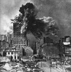 "Warsaw Uprising - The Prudential building was Warsaw's tallest skyscraper and was hit by approximately 1000 artillery shells during the uprising. On the 28th of August AK camera man Sylwester Braun (""Kris"") captured the moment of impact of a Karl-Gerät mortar shell."