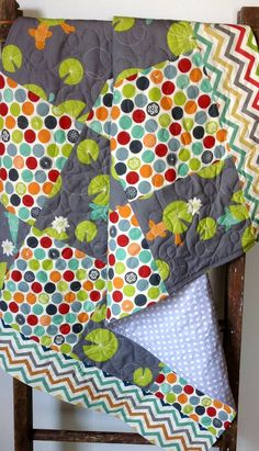 Organic Modern Gender Neutral Baby Quilt, Eikos Pond, Birch Fabric, Eiko, Jay-Cyn Designs, Flower Dots, Crib Quilt, Baby Bedding, Chevrons